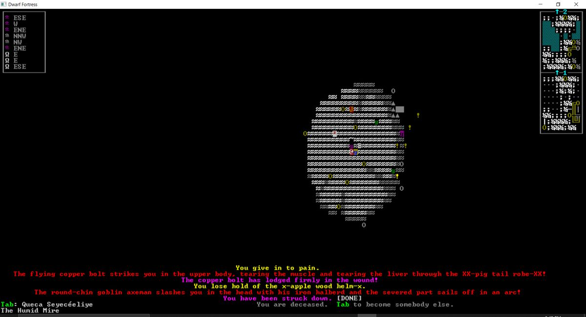 """The text at the bottom of the ASCII representation of the action reads """"The round-chin goblin axeman slashes you in the head with his iron halberd and the severed part sails off in an arc! You have been struck down."""