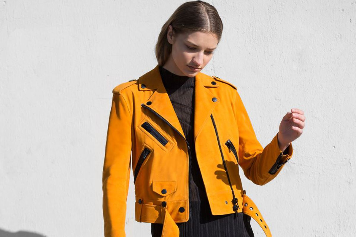 The Arrivals marigold leather moto jacket