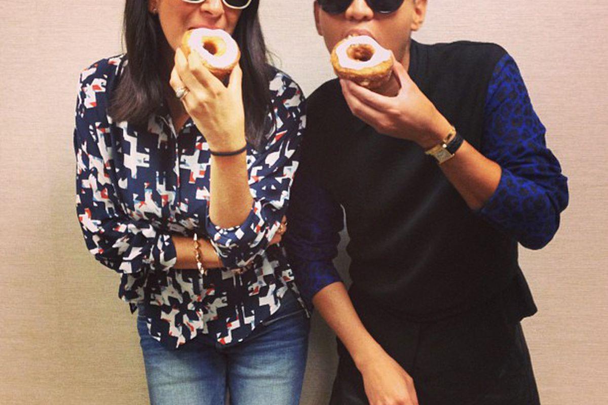 "Rebecca Minkoff and BryanBoy try Cronuts. Photo via Rebecca Minkoff/<a href=""http://instagram.com/rebeccaminkoff#"">Instagram</a>."