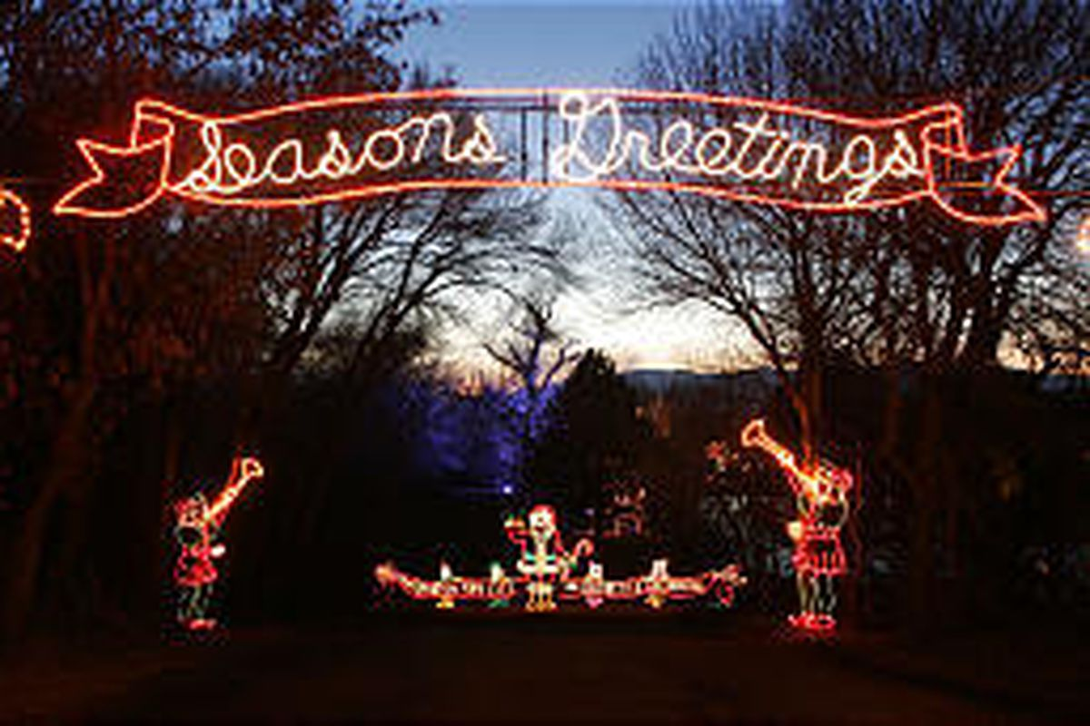 The entrance to the Festival of Lights at Canyon View Park in Spanish Fork shines brightly in December 2004. The entry arch is 40 feet wide and 29 feet high.