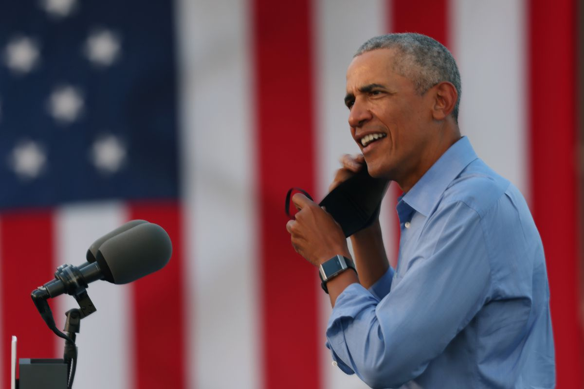 Former President Barack Obama speaks during a drive-in rally while campaigning for Democratic nominee Joe Biden on Wednesday, Oct. 21, 2020,  in Philadelphia, Pennsylvania.