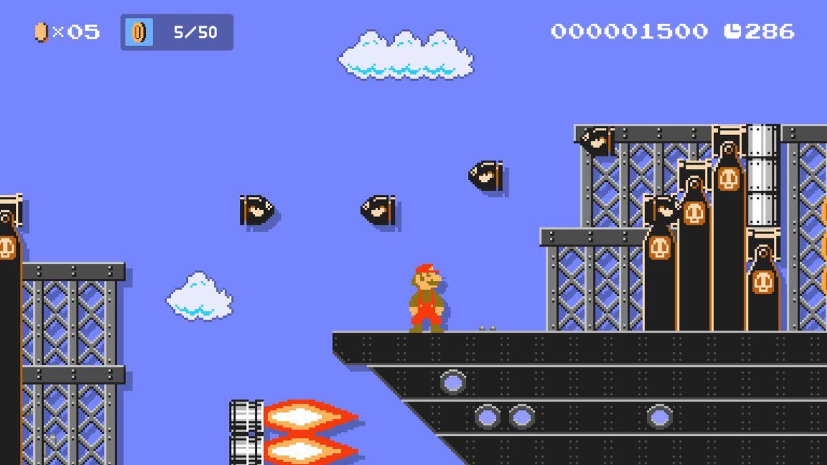 8-bit Super Mario in a Super Mario Maker 2 sky level with Bullet Bills flying around