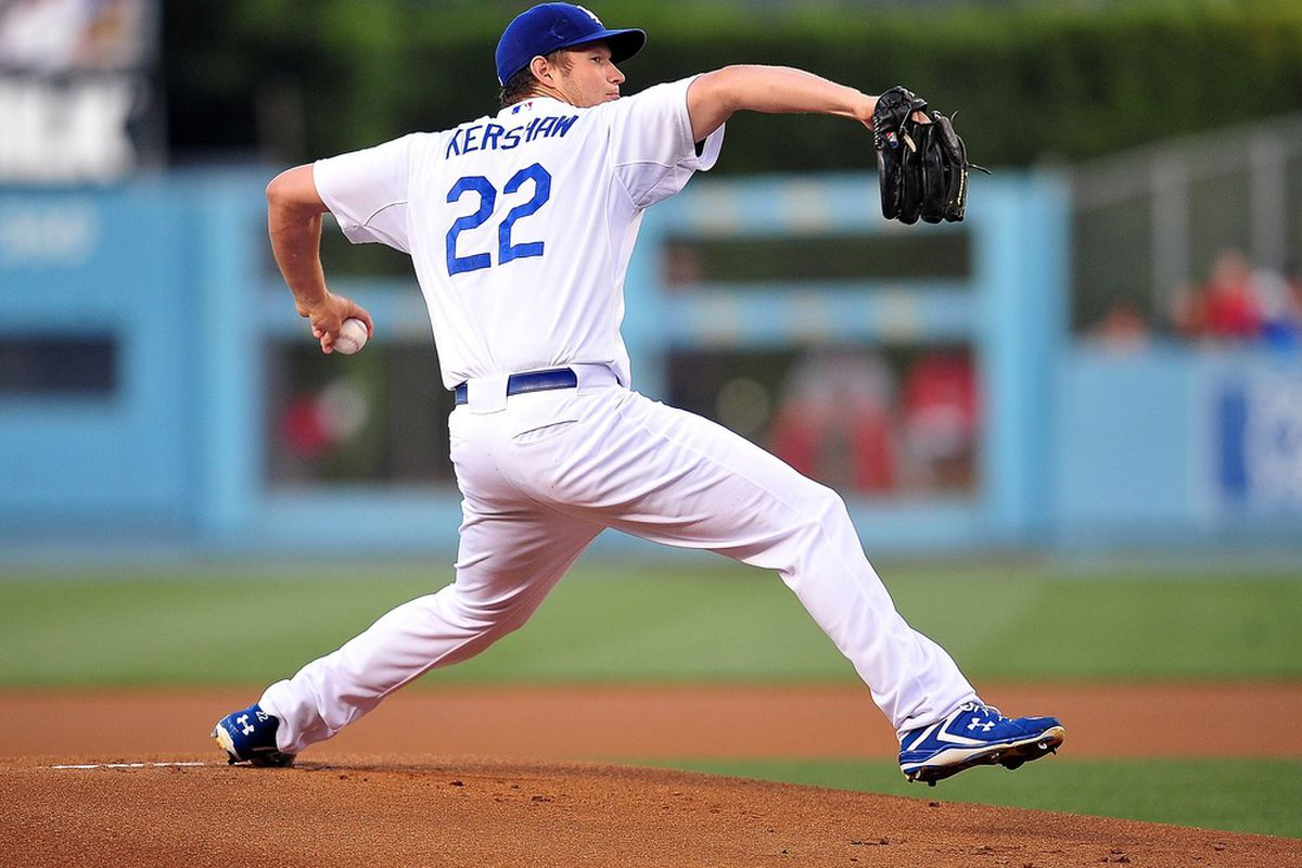 May 19, 2012; Los Angeles, CA, USA; Los Angeles Dodgers starting pitcher Clayton Kershaw (22) pitches in the first inning against the St. Louis Cardinals at Dodger Stadium.  Mandatory Credit: Gary A. Vasquez-US PRESSWIRE