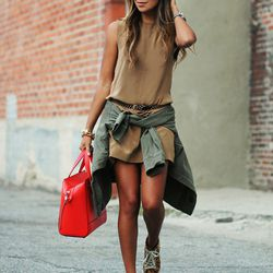"""Julie of <a href=""""http://sincerelyjules.com""""target=""""_blank"""">Sincerely, Jules</a> is wearing an <a href=""""http://www.aninebing.com/collections/new-arrivals/products/army-jacket""""target=""""_blank"""">Anine Bing</a> jacket, a Jenni Kayne dress, a Mango belt, Zara"""