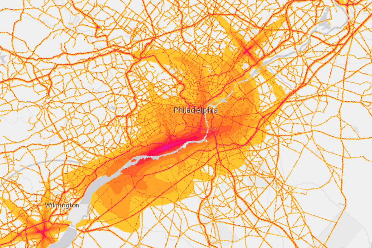 Philadelphia On Map Of Us.New Map Reveals Noise Levels Of Philly And Beyond Curbed Philly