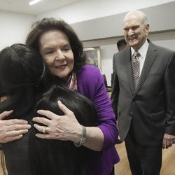 Sister Wendy Nelson hugs Karol Vega after she and President Russell M. Nelson of The Church of Jesus Christ of Latter-day Saints meet with youth in Bogota, Colombia, on Sunday, Aug. 25, 2019.