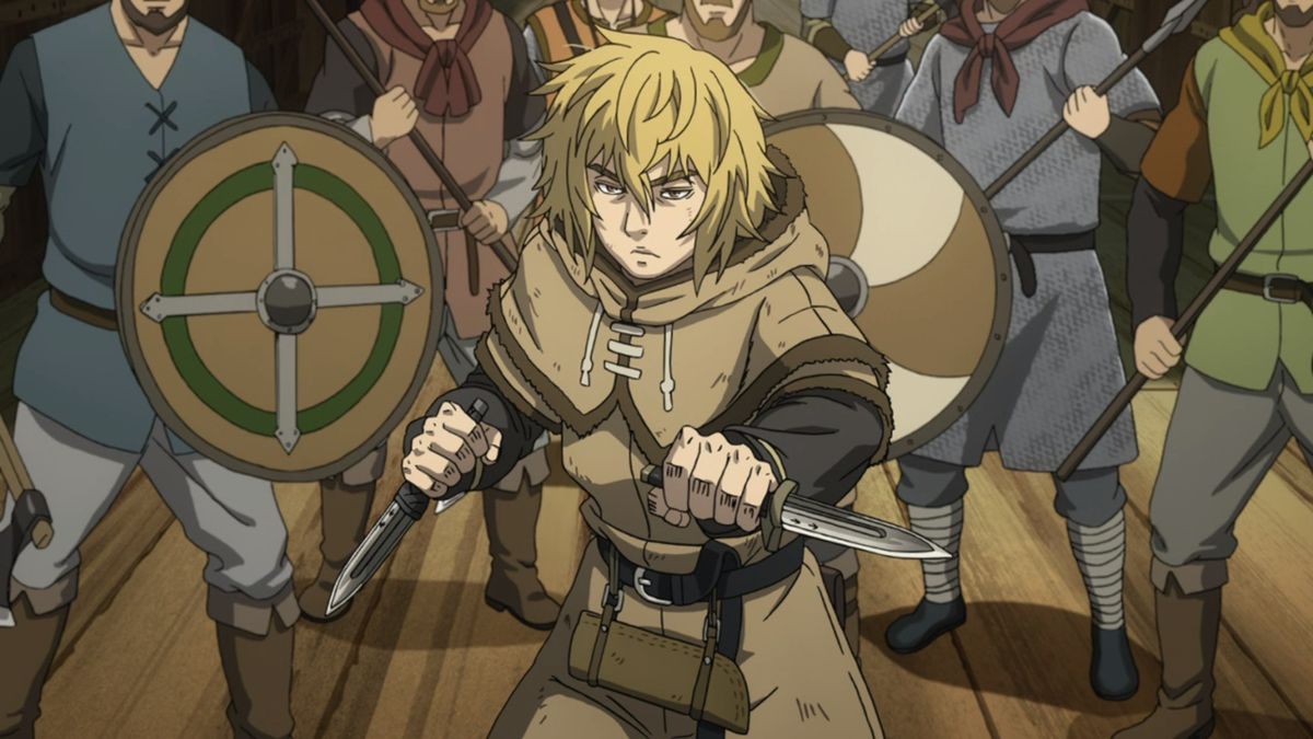 A still from the Vinland Saga anime with Thorfinn holding short swords on a boat