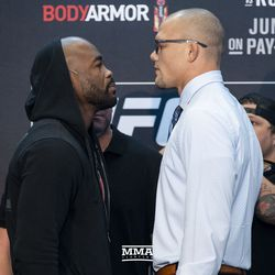 Rashad Evans and Anthony Smith square off at UFC 225 media day.