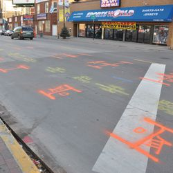 New utility markings on Addison just east of Clark