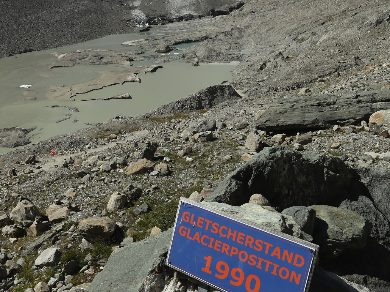 A sign on a trail in Austria marks how quickly glaciers are receding.