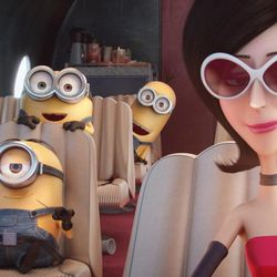 """Stuart, Bob and Kevin hitch a ride with Scarlett Overkill (voiced by Sandra Bullock), the first-ever female supervillian, in """"Minions."""""""