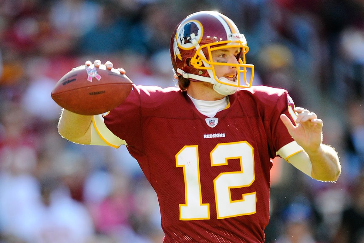 John Beck of the Washington Redskins throws a pass against the Philadelphia Eagles during a game at FedExField on October 16, 2011 in Landover, Maryland.  (Photo by Patrick McDermott/Getty Images)