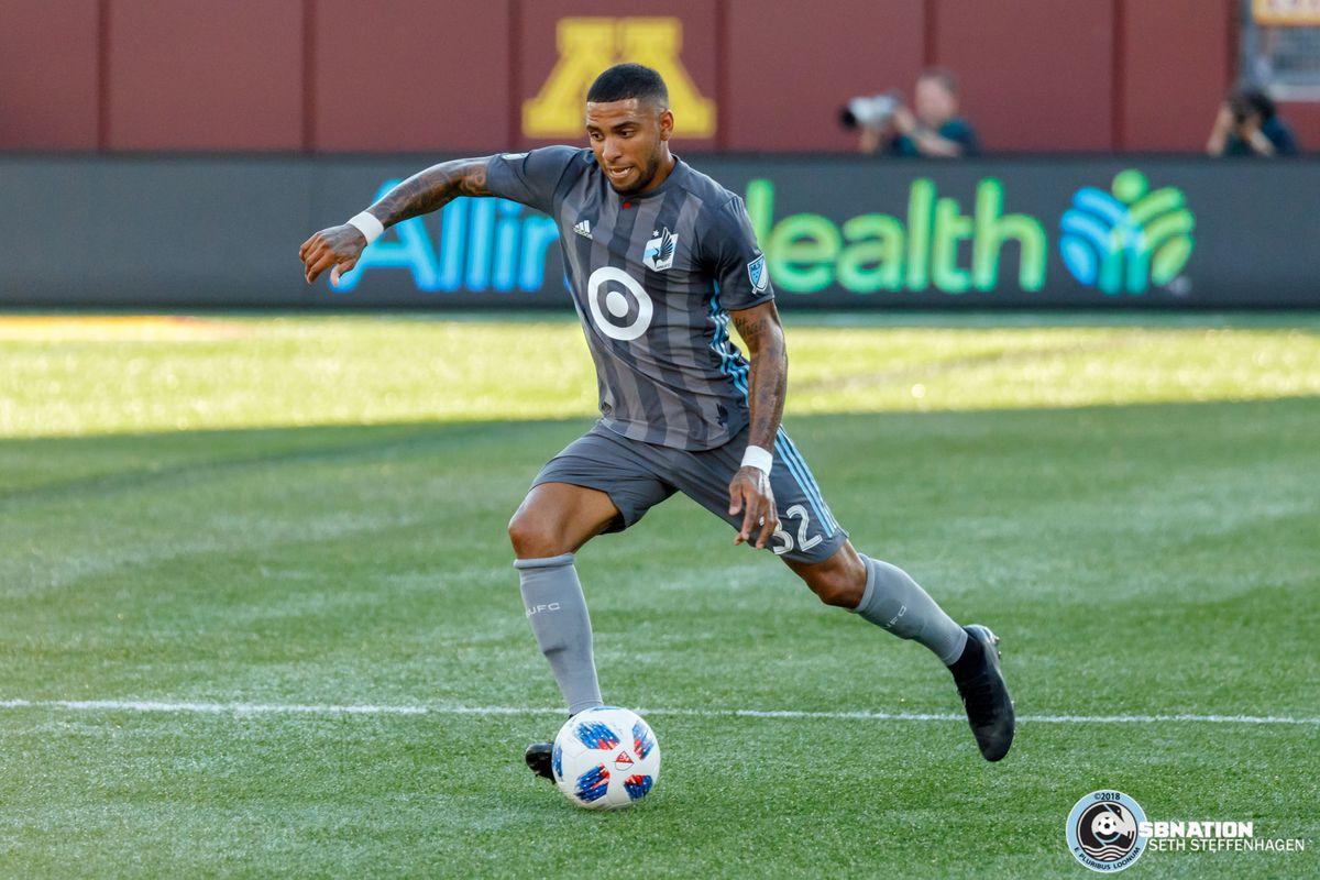 July 14, 2018 - Minneapolis, Minnesota, United States - Minnesota United defender Alexi Gomez (32) kicks the balls during the match against Real Salt Lake at TCF Bank Stadium.