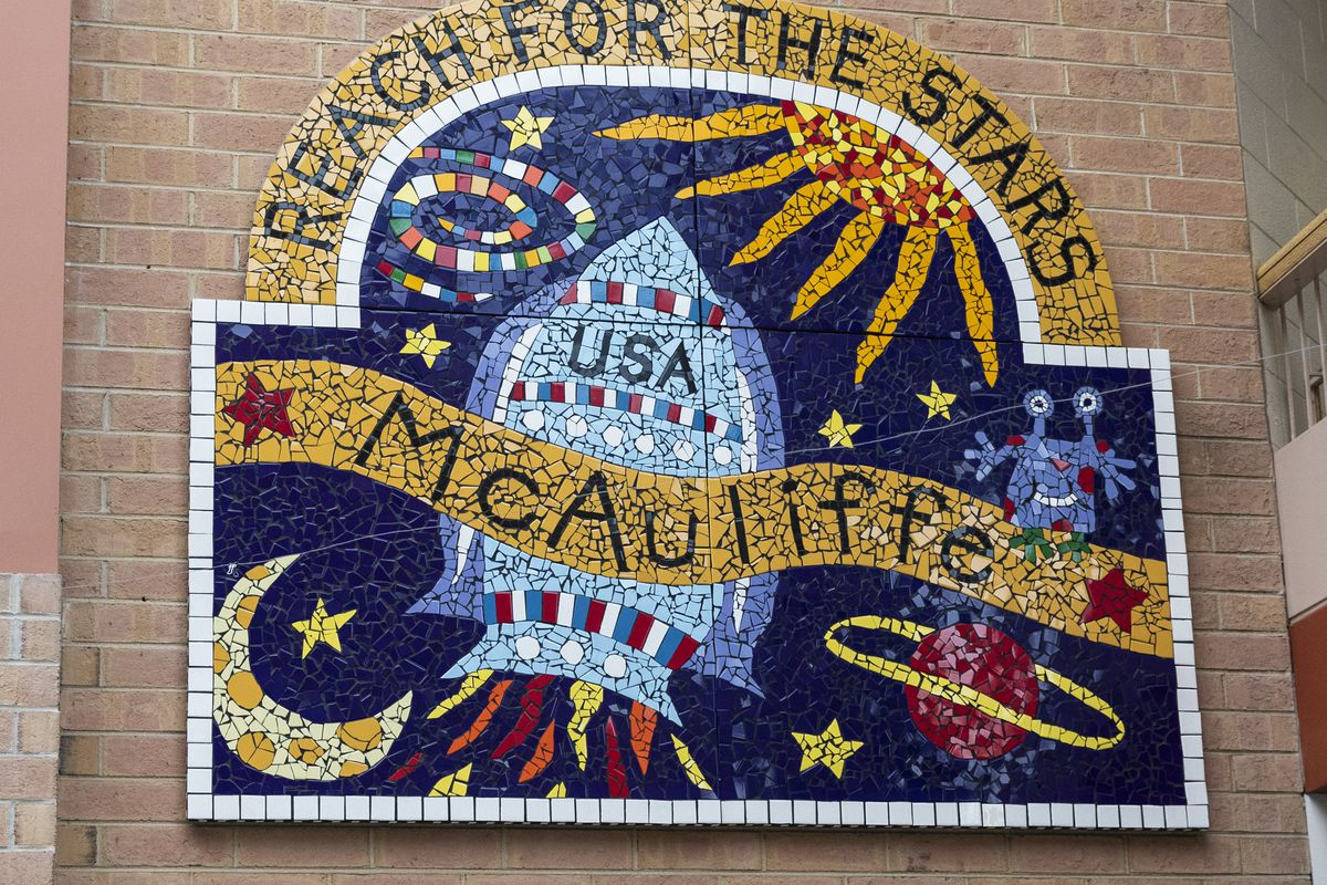 A mosaic inside McAuliffe Elementary School, 1841 N. Springfield Ave.