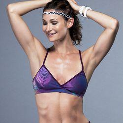 "Koral Activewear Grip Sports Bra in Purple Cobra, <a href=""http://www.carbon38.com/designers/koral-activewear/grip-sports-bra-in-purple-cobra.html"">$69</a> at Carbon38"