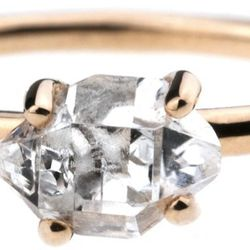 """Bario Neal <a href=""""http://bario-neal.com/jewelry/engagement-rings/herkimer-diamond-ring"""">Herkimer Diamond Ring</a>, $694+.  This simple prong-set ring features a 7 x 5mm double-terminated quartz, also known as a Herkimer diamond, mined in upstate New Yor"""