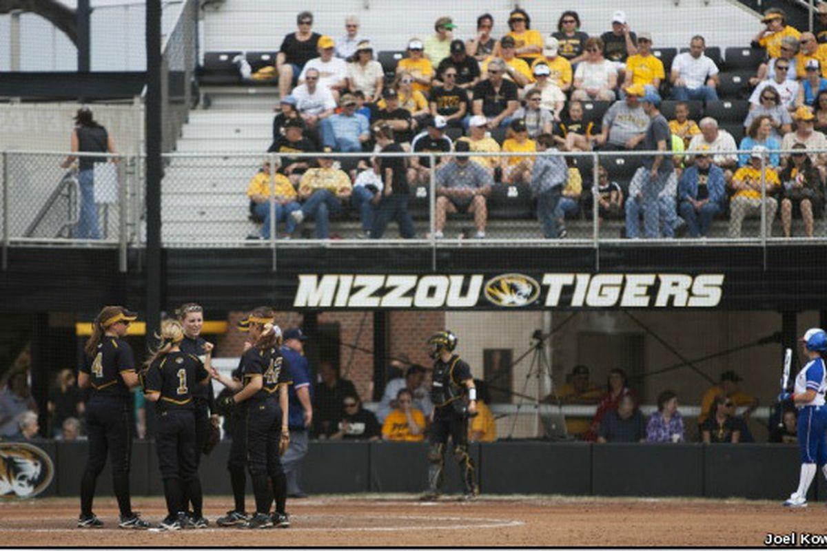 """Joel Kowsky photo via <a href=""""http://www.mutigers.com/sports/w-softbl/recaps/031812aaa.html"""" target=""""new"""">MUtigers.com</a>"""