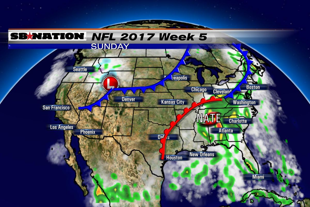 Nfl Weather Forecast 2017 Week 5 Wet In The East Thanks To Nate - Weather-map-for-western-us