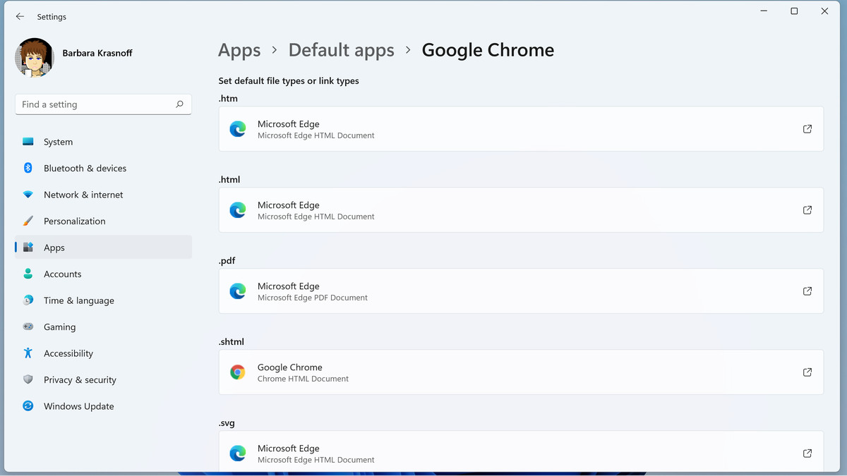 Switching browsers means associating each file type with your new browser.