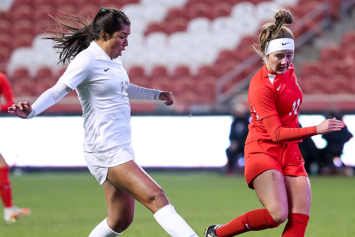 American Fork and Davis face off in the 6A girls soccer state championship at Rio Tinto Stadium in Sandy on Friday, Oct. 23, 2020.