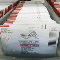 Mail-in ballots for the 2016 General Election are shown at the elections ballot center at the Salt Lake County Government Center Tuesday, Nov. 1, 2016, in Salt Lake City. Lt. Governor Spencer Cox says about 22 percent of Utah's active registered voters have cast their ballots already, a number that's slightly lower than his office expected to see a week away from Election Day.  (AP Photo/Rick Bowmer)