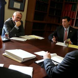 Oversight and Government Reform Committee Chairman Jason Chaffetz, R-Utah, right, meets with staff members including his staff director Andrew Arthur, left,  at the U.S. Capitol in Washington, D.C., on Tuesday, Dec. 8, 2015.