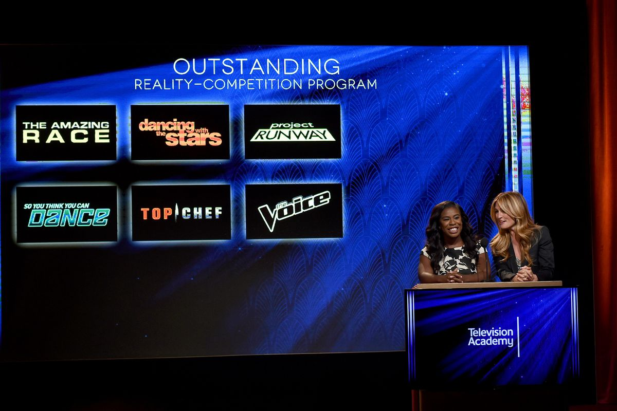 Uzo Aduba (left) and Cat Deeley announce the 2015 Emmy Award nominations.