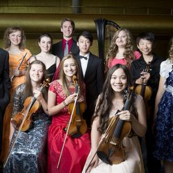 These musicians, pictured July 30 at Abravanel Hall, have been selected to perform in this year's Salute to Youth concert. Standing, left to right: Jeremy David Lewis, Ashley Fleming, Sally Drutman, William Yavornitzky, Alexander Cheng, Mischael Ann Staples, Soonyoung Kwon and Hannah Jean Baker. Seated, left to right: Erika Hubbard, McCall Andersen and Rachel Aina Call.