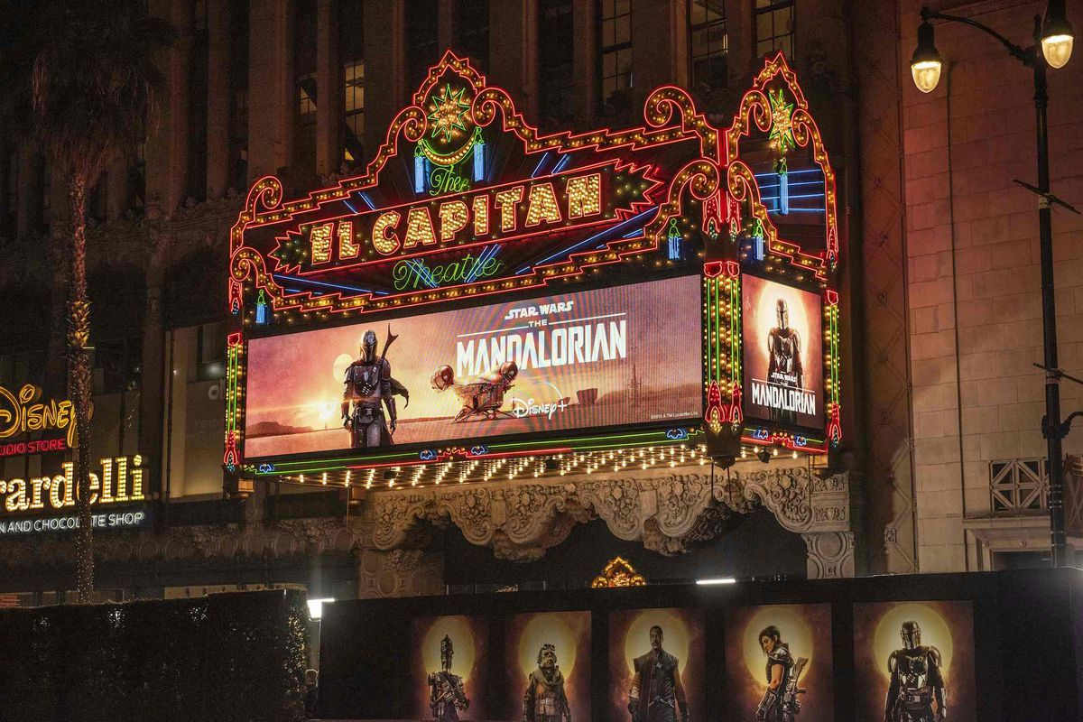 el capitan theatre in hollywood with the Mandalorian poster as a marquee banner