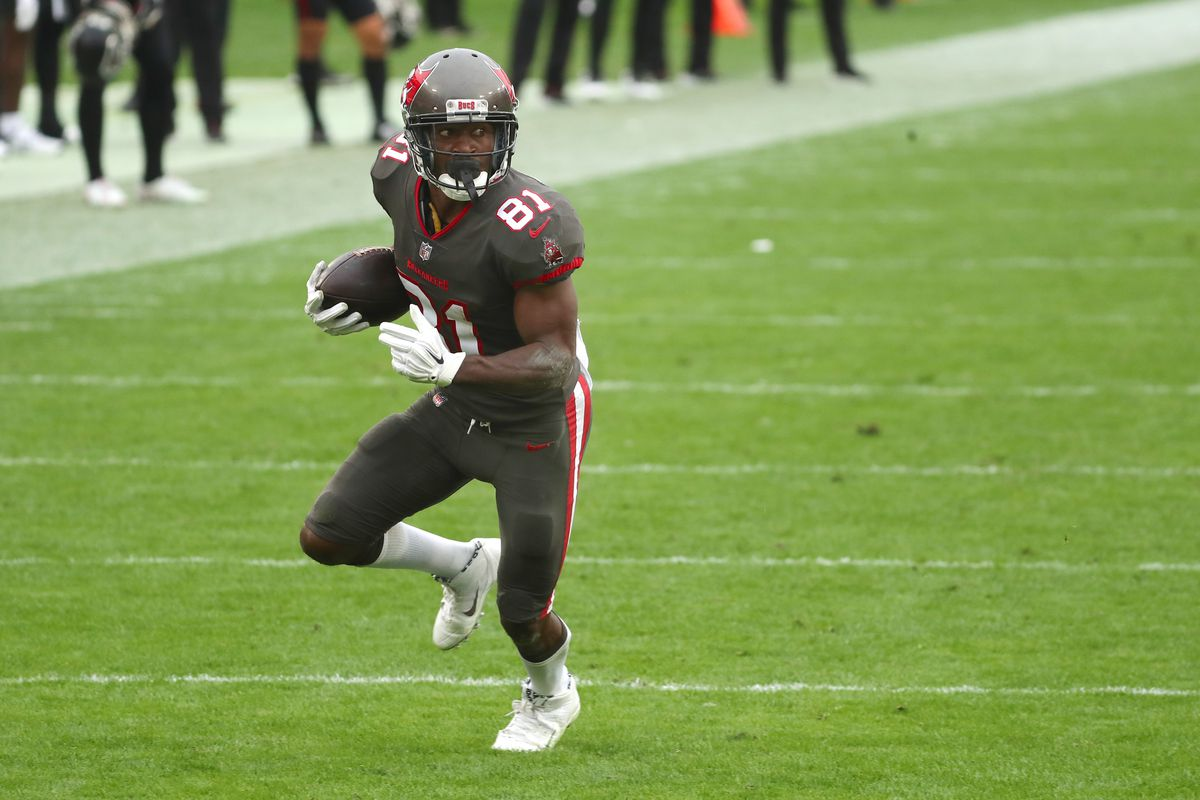 Tampa Bay Buccaneers wide receiver Antonio Brown (81) runs the ball in for a touchdown against the Atlanta Falcons during the second half at Raymond James Stadium.