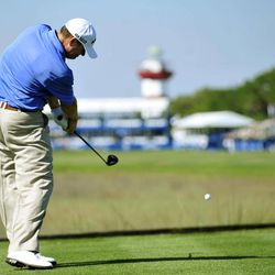 Chad Campbell hits off the 18th tee during the first round of the Heritage golf tournament in Hilton Head, S.C., Thursday, April 12, 2012.