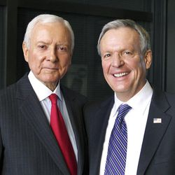 Senate candidates Orrin Hatch, left, and Scott Howell pose for a photo after debating on KSL NewsRadio on Friday, Oct. 26, 2012, in Salt Lake City.