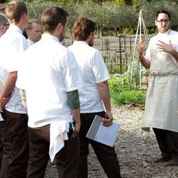 Kostow gives the cooks an explanation of everything new in the on-site garden.