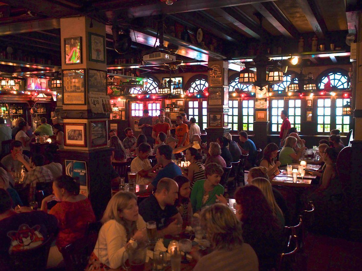 inside a crowded bar