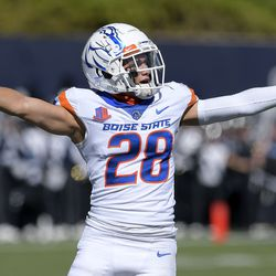 Boise State cornerback Kekaula Kaniho (28) celebrates after Utah State missed a field goal during the first half of an NCAA college football game Saturday, Sept. 25, 2021, in Logan, Utah.
