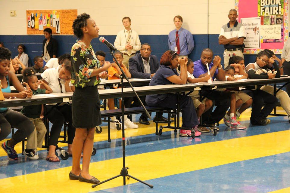 A student addresses Shelby County School officials during their Aug. 31 presentation at Kirby Middle School.
