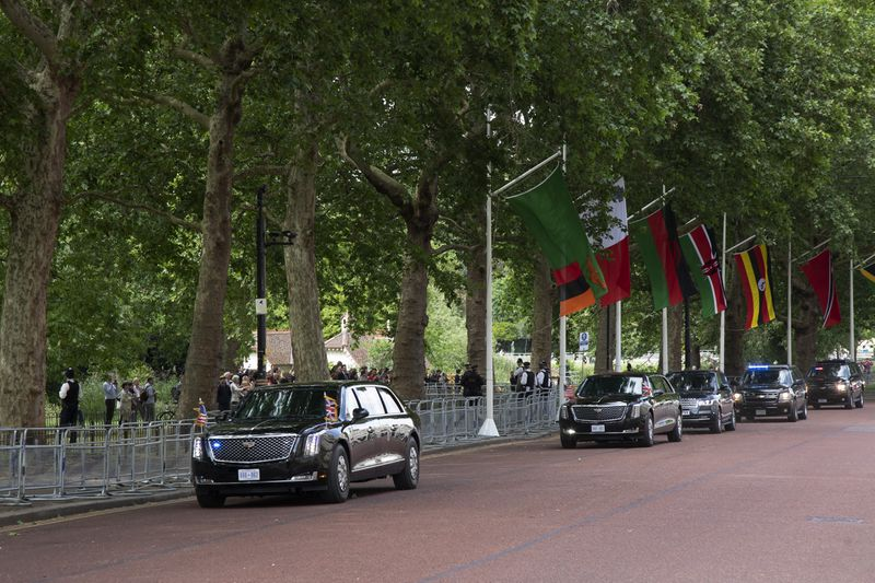 President Donald Trump's motorcade drives along Horse Guards Road on June 3, 2019, in London, United Kingdom. Police had erected barricades to control crowds, but almost no one showed up.