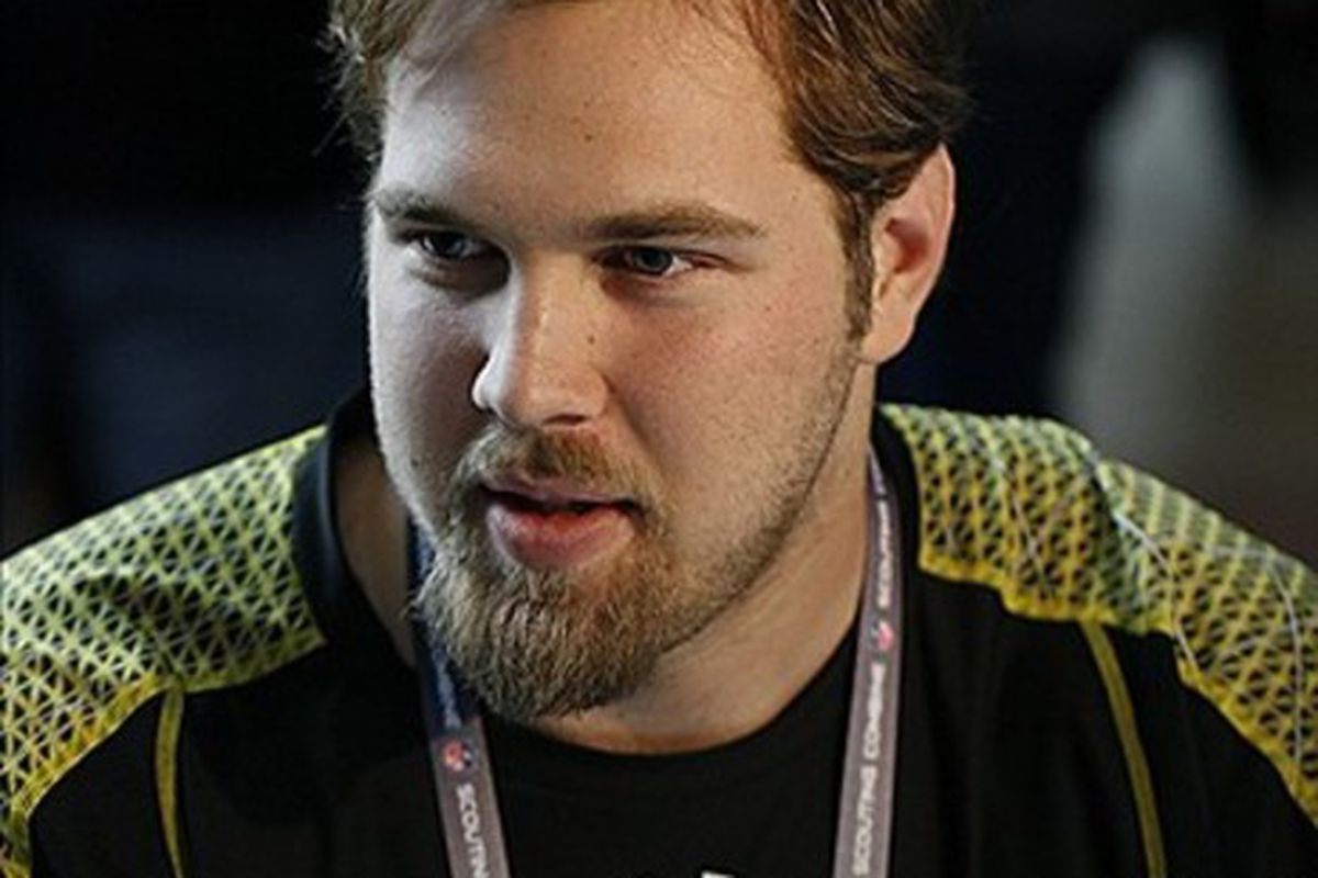 Feb 23, 2012; Indianapolis, IN, USA; California Bears offensive lineman Mitchell Schwartz speaks at a press conference during the NFL Combine at Lucas Oil Stadium. Mandatory Credit: Brian Spurlock-US PRESSWIRE