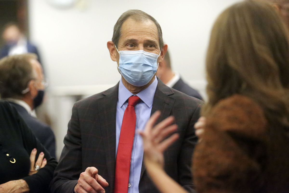 Rep. John Curtis, R-Utah attends a Republican election night event at the Utah Association of Realtors building in Sandy on Tuesday, Nov. 3, 2020.Curtis' opponent, Democrat Devin Thorpe, conceded the race Tuesday night.