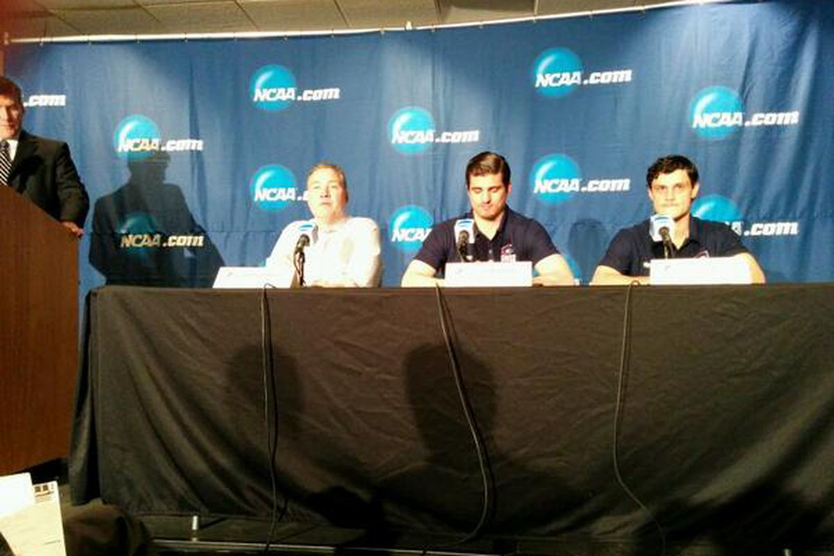 (From L to R) Robert Morris head coach Derek Schooley, senior Colin South, junior Cody Wyno