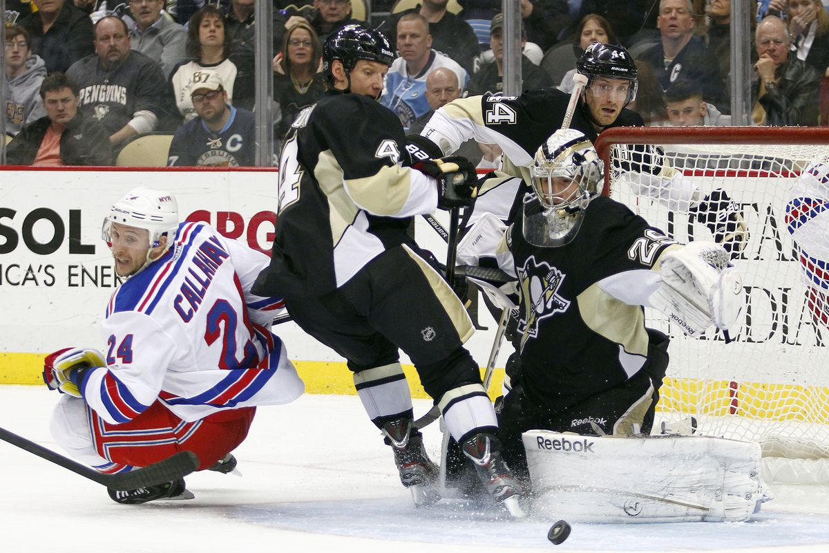 promo code 39063 1dc95 Penguins vs. Rangers: Marc-Andre Fleury attempts save with ...