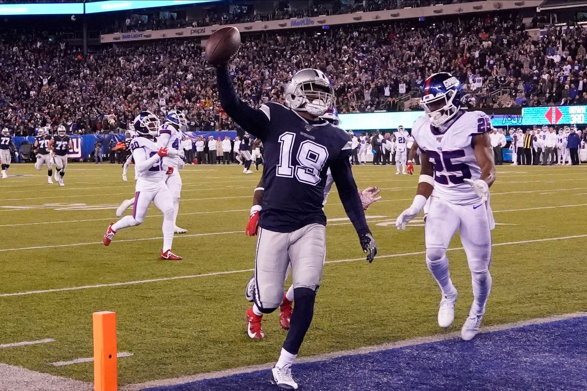 Dallas Cowboys wide receiver Amari Cooper celebrates his fourth quarter touchdown against the Giants at MetLife Stadium.