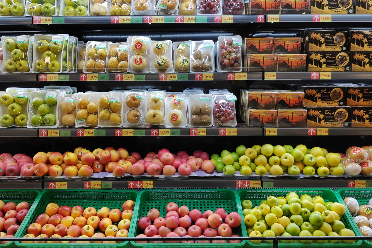 Various type of fruits at supermarket.