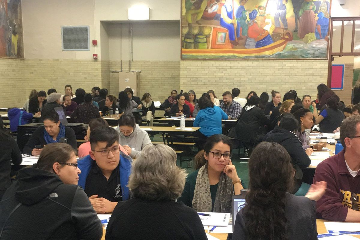 Nearly 100 residents, educators and school district leaders convened Nov. 19, 2018, at Thomas Kelly High School in Chicago to discuss their school needs.