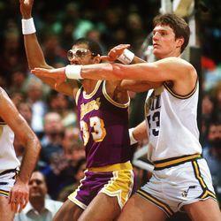Mark Eaton defends Kareem Jabbar in a mid-80's matchup at the Salt Palace.
