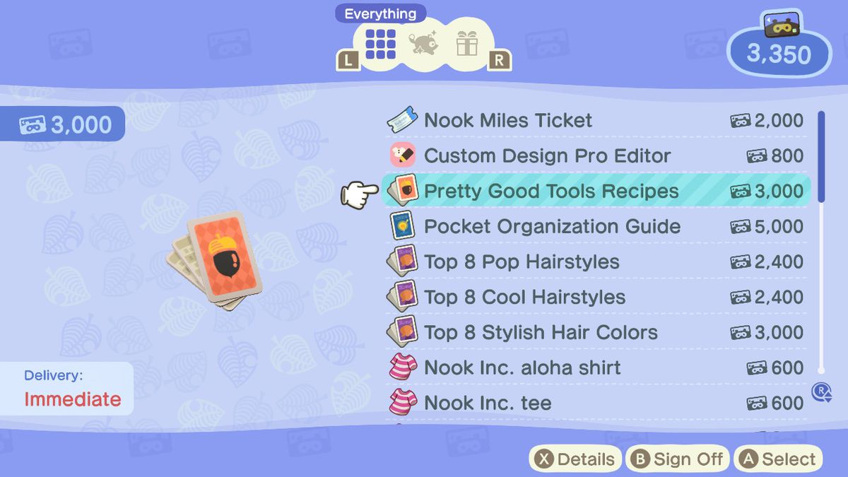 Pretty Good Tools Recipes in the ABD store in Tom Nook's Tent in Animal Crossing New Horizons