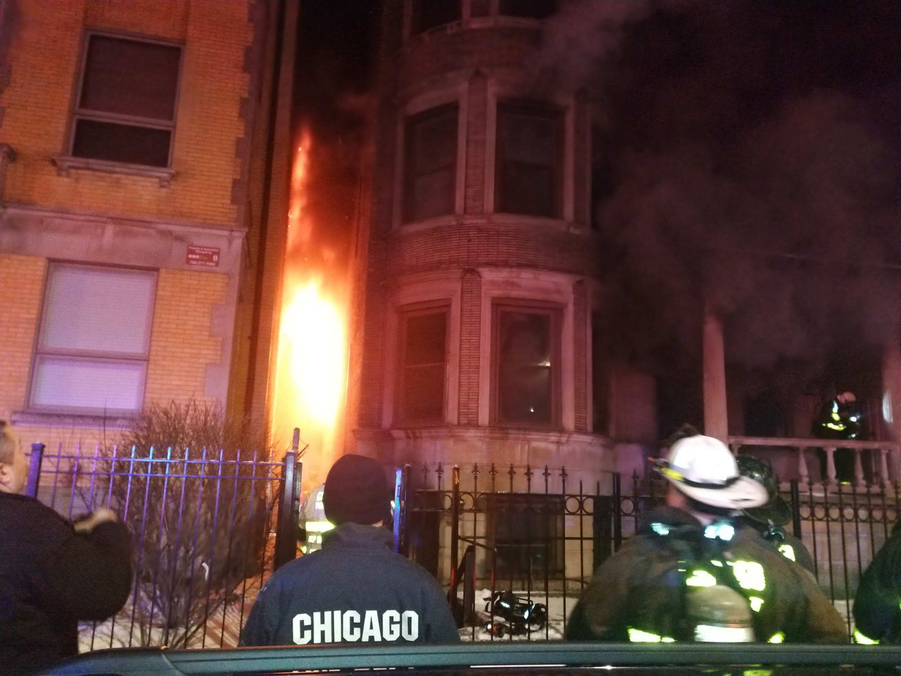 Crews are on the scene for a fire that hurt five people Feb. 15, 2020 in Bronzeville.