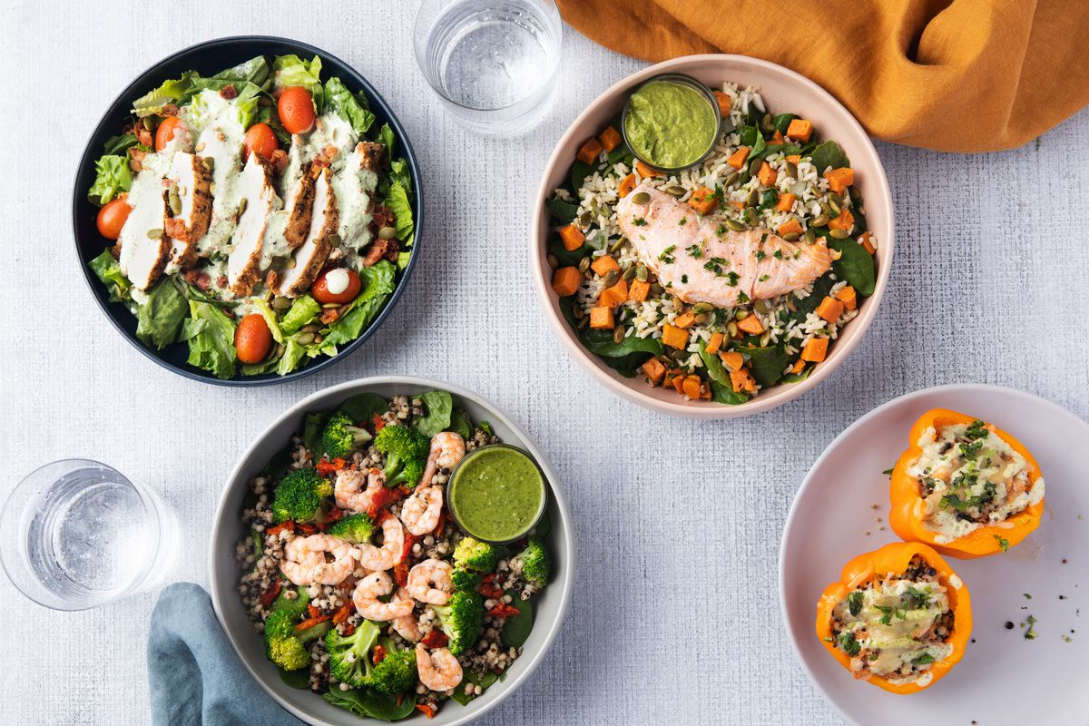 Table set with salads and bowls from Everytable
