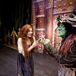 """Anya Matanovic plays Gretel and Jennifer Roderer plays the witch in Utah Opera's """"Hansel and Gretel."""""""