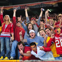 Iowa State Cyclones fans celebrate their team's 14-13 victory over the Minnesota Golden Gophers in the 2009 Insight Bowl at Sun Devil Stadium.